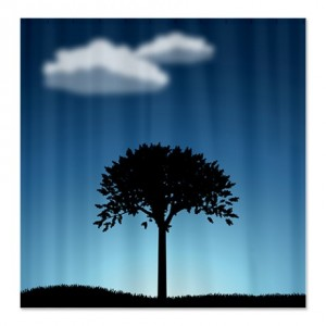Landscape Lonely Tree Shower Curtain