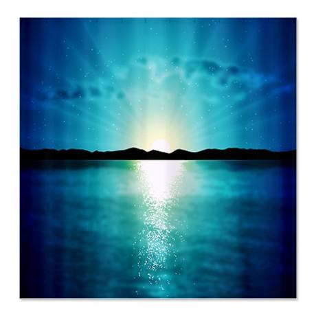 Mountain Sea Reflection Shower Curtain