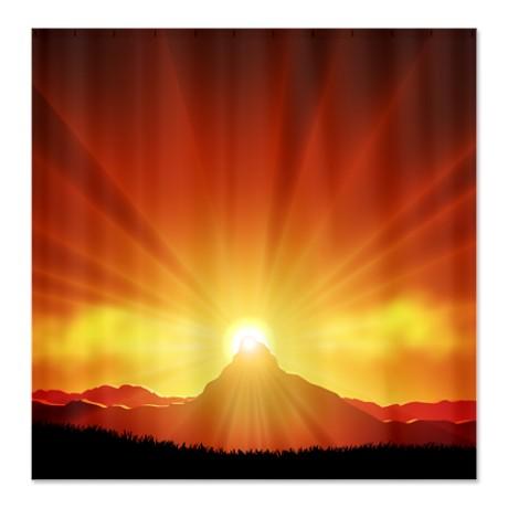 Mountain Sunset Landscape Shower Curtain