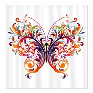 Multicolored abstract Art Butterfly Shower Curtain