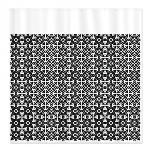 Black Design on White Background Shower Curtain