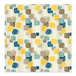 Modern Floral Blocks Pattern 1 Shower Curtain