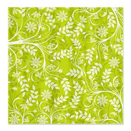 Spring Green Floral Print Shower Curtain