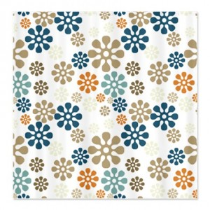 Trendy Floral Splash Pattern Shower Curtain