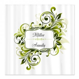 Personalized Monogram Floral Swirl Shower Curtain