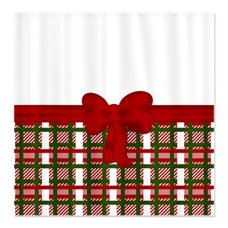 Red White And Green Plaid Shower Curtain