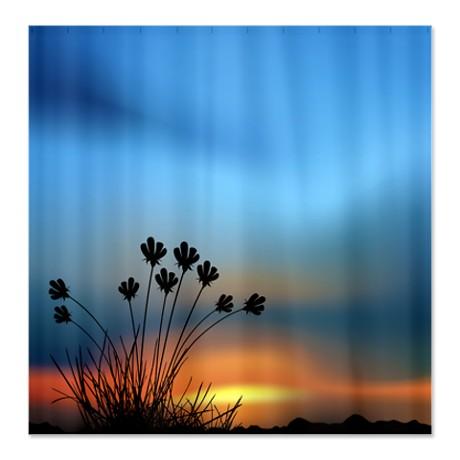 Prairie Flowers Sunset Shower Curtain