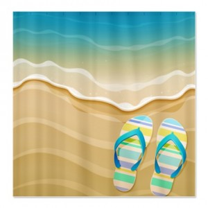 Pretty Beach Flip Flops Shower Curtain