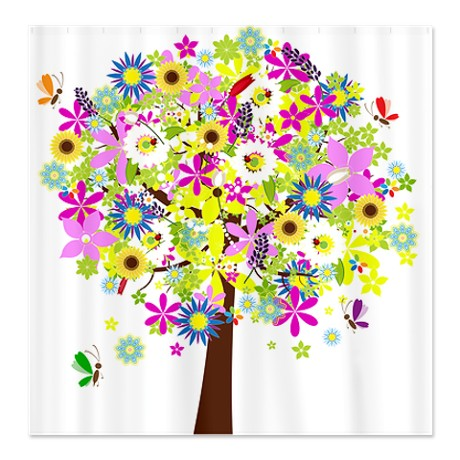 Pretty Flowers Floral Tree Shower Curtain