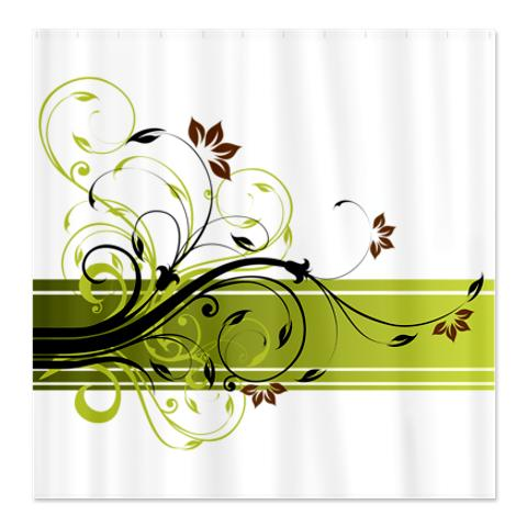 Pretty Modernist Green Floral Swirl Shower Curtain