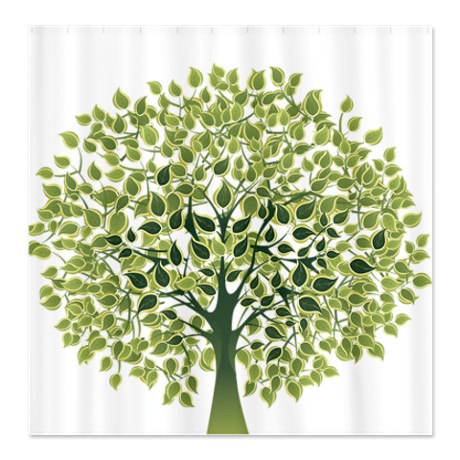 Pretty Modernist Green Tree 1 Shower Curtain