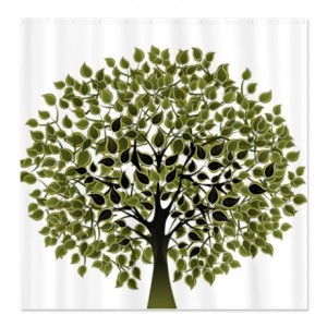 Pretty Modernist Green Tree 2 Shower Curtain