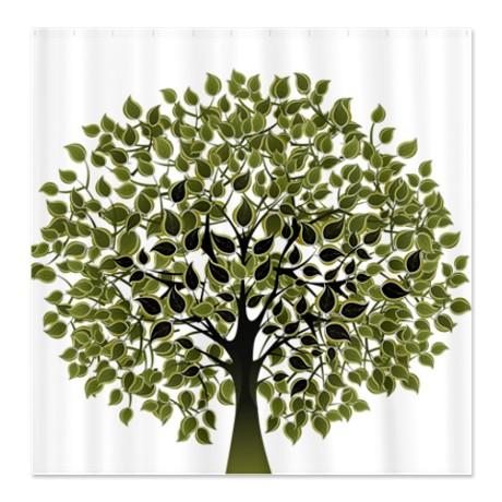 Pretty Modernist Green Tree 2 Shower Curtain