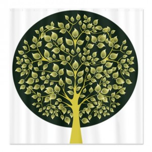 Pretty Modernist Green Tree 3 Shower Curtain