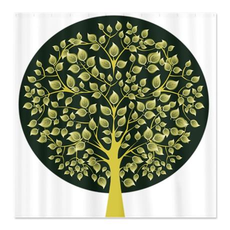 Pretty Modernist Green Tree 3 Shower Curtain