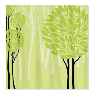 Pretty Modernist Green Tree 4a Shower Curtain