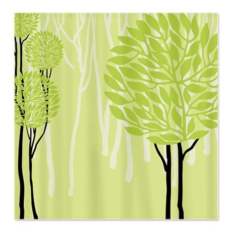 Pretty Modernist Green Tree 4a Shower Curtain