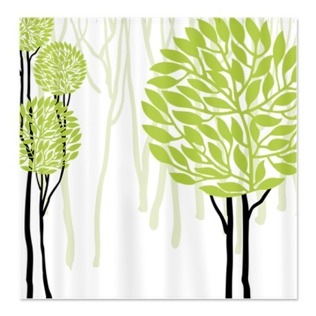 Pretty Modernist Gree Tree Design 4b Shower Curtain