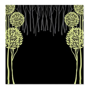 Pretty Modernist Green Tree 5a Shower Curtain