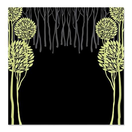 Pretty Modernist Green Tree 5a Shower Curtain