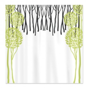 Pretty Modernist Green Tree 5b Shower Curtain