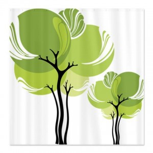 Pretty Modernist Green Tree 6 Shower Curtain