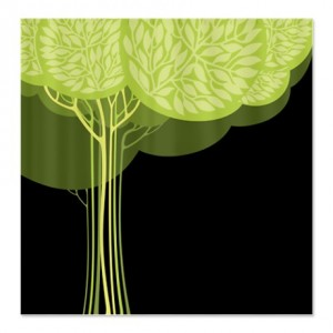 Pretty Modernist Green Tree 3a Shower Curtain