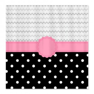Pretty Polka Dot & Zigzag Shower Curtain