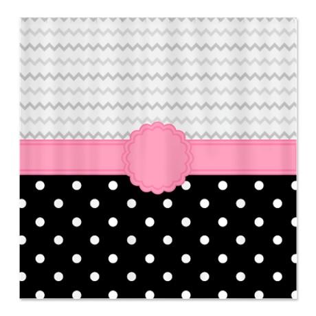 Makanahele.com | Pretty Polka Dot & Zigzag Shower Curtain