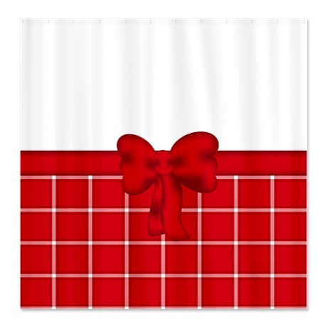 Pretty Red and White Plaid Shower Curtain