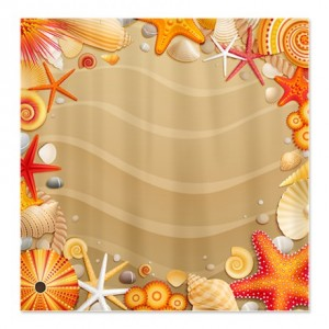 Pretty Sea Shell Beach Shower Curtain