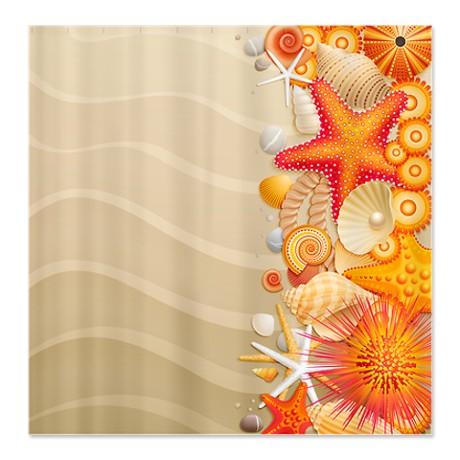 Pretty Sea Shell Beach Shower Curtain
