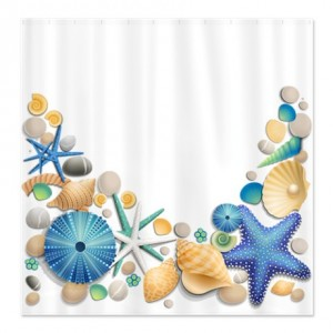 Pretty Sea Shell Shower Curtain