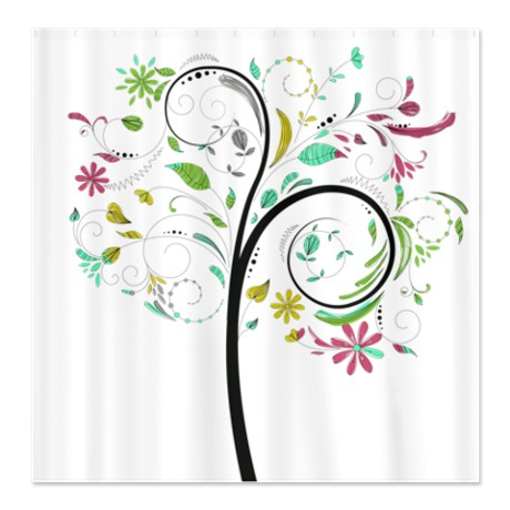 Pretty Whimsical Floral Tree Shower Curtain