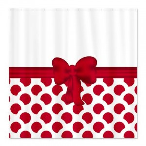 Pretty Red Dot Spot Shower Curtain