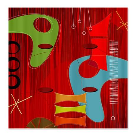 Retro 1960s Design Shower Curtain