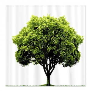 Solitary Green Tree Shower Curtain