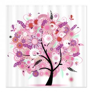 Spring Pink Floral Tree Shower Curtain
