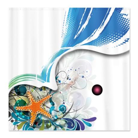 Starfish Swirl Shower Curtain