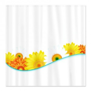 Sunshine Floral Wave Shower Curtain