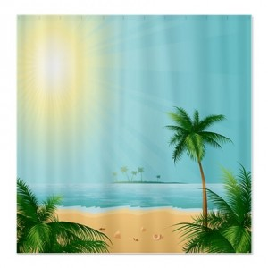 Tranquil Tropical Beach Horizon Shower Curtain