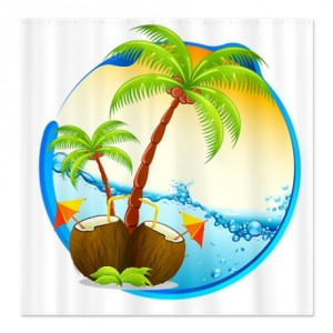 Tropical Beach Porthole Shower Curtain