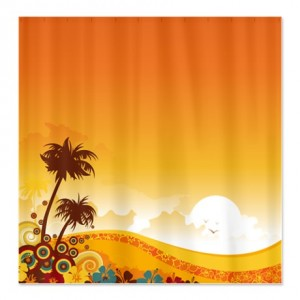 Tropical Beach Swirl Shower Curtain