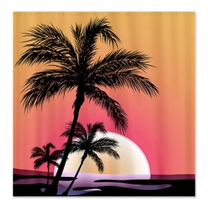 Tropical Coconut Tree Silhouette