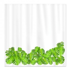 Tropical Monstera Leaf Border Shower Curtain