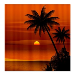 Tropical Shoreline Silhouette Shower Curtain