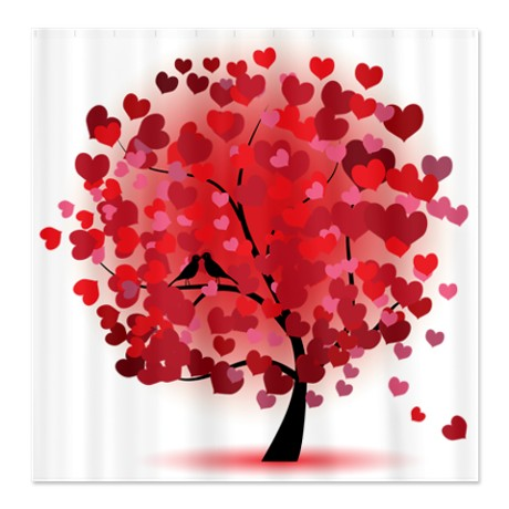 Valentine-Love Tree Shower Curtain
