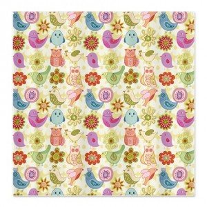 Whimsical Chick, Bird, Owl, Flower Shower Curtain
