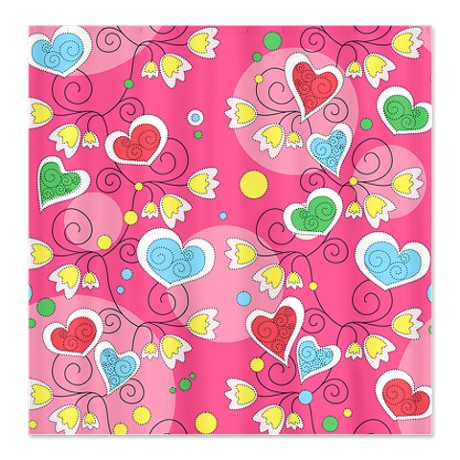 Whimsical Hearts and Flowers Shower Curtain