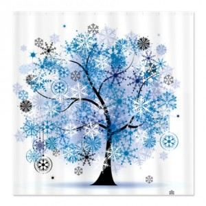 Winter Floral Tree Shower Curtain